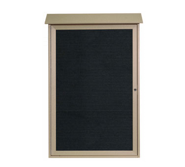 "Aarco Products PLD4832L-8 Weathered Wood Single Hinged Door Plastic Lumber Message Center with Letter Board 48"" x 32"""