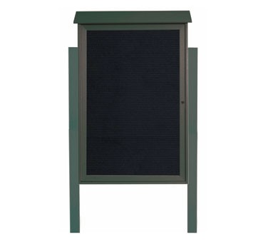 """Aarco Products PLD4832LDPP-4 Green Single Hinged Door Plastic Lumber Message Center with Letter Board- Posts Included, 48"""" x 32"""""""