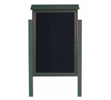 "Aarco Products PLD4832LDPP-4 Green Single Hinged Door Plastic Lumber Message Center with Letter Board- Posts Included, 48"" x 32"""