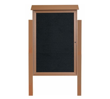 """Aarco Products PLD4832LDPP-5 Cedar Single Hinged Door Plastic Lumber Message Center with Letter Board- Posts Included, 48"""" x 32"""""""