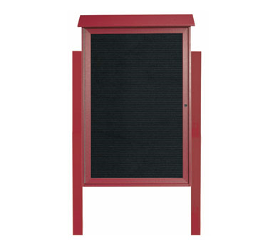 """Aarco Products PLD4832LDPP-7 Rosewood Single Hinged Door Plastic Lumber Message Center with Letter Board- Posts Included, 48"""" x 32"""""""