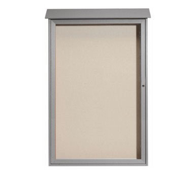 """Aarco Products PLD5438-2 Light Grey Single Hinged Door Plastic Lumber Message Center with Vinyl Posting Surface 54"""" x 38"""""""