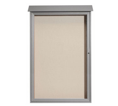 "Aarco Products PLD5438-2 Light Grey Single Hinged Door Plastic Lumber Message Center with Vinyl Posting Surface 54"" x 38"""