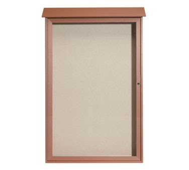 "Aarco Products PLD5438-5 Cedar Single Hinged Door Plastic Lumber Message Center with Vinyl Posting Surface 54"" x 38"""