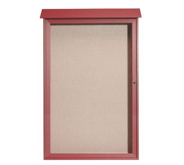 "Aarco Products PLD5438-7 Rosewood Single Hinged Door Plastic Lumber Message Center with Vinyl Posting Surface 54"" x 38"""