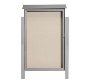 Aarco Products PLD5438DPP-2 Light Grey Single Hinged Door Plastic Lumber Message Center w / Vinyl Posting Surface, Posts 54