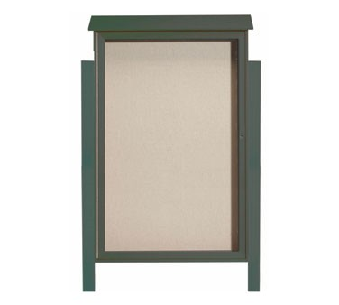 """Aarco Products PLD5438DPP-4 Green Single Hinged Door Plastic Lumber Message Center with Vinyl Posting Surface- Posts Included, 54"""" x 38"""""""