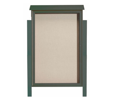 "Aarco Products PLD5438DPP-4 Green Single Hinged Door Plastic Lumber Message Center with Vinyl Posting Surface- Posts Included, 54"" x 38"""