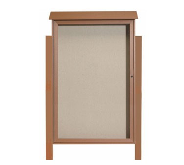 "Aarco Products PLD5438DPP-5 Cedar Single Hinged Door Plastic Lumber Message Center with Vinyl Posting Surface- Posts Included, 54"" x 38"""