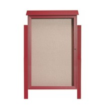 """Aarco Products PLD5438DPP-7 Rosewood Single Hinged Door Plastic Lumber Message Center w / Vinyl Posting Surface, Posts 54""""H x 38""""W"""