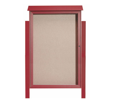Aarco Products PLD5438DPP-7 Rosewood Single Hinged Door Plastic Lumber Message Center w / Vinyl Posting Surface, Posts 54