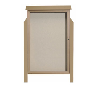 Aarco Products PLD5438DPP-8 Weathered Wood Single Hinged Door Plastic Lumber Message Center w / Vinyl Posting Surface, Posts 54