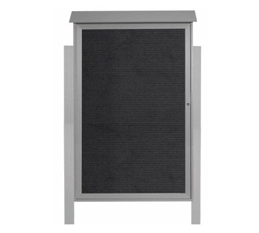 """Aarco Products PLD5438LDPP-2 Light Grey Single Hinged Door Plastic Lumber Message Center with Letter Board- Posts Included, 54"""" x 38"""""""