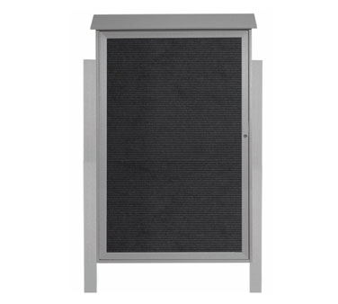 "Aarco Products PLD5438LDPP-2 Light Grey Single Hinged Door Plastic Lumber Message Center with Letter Board- Posts Included, 54"" x 38"""