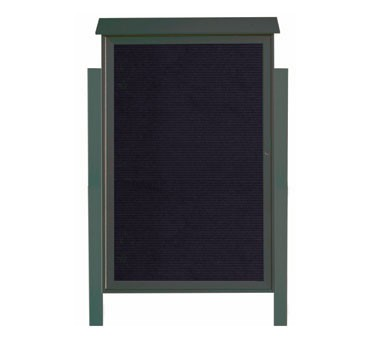 """Aarco Products PLD5438LDPP-4 Green Single Hinged Door Plastic Lumber Message Center with Letter Board- Posts Included, 54"""" x 38"""""""