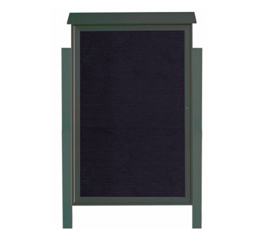 "Aarco Products PLD5438LDPP-4 Green Single Hinged Door Plastic Lumber Message Center with Letter Board- Posts Included, 54"" x 38"""