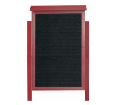 "Aarco Products PLD5438LDPP-7 Rosewood Single Hinged Door Plastic Lumber Message Center with Letter Board- Posts Included, 54"" x 38"""