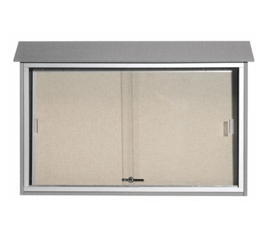 "Aarco Products PLDS3045-2 Light Grey Sliding Door Outdoor Plastic Lumber Message Center, 30"" x 45"""