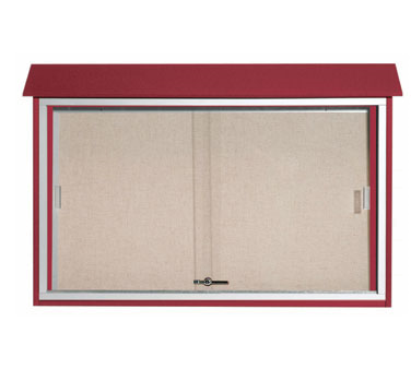"Aarco Products PLDS3045-7 Rosewood Sliding Door Plastic Lumber Message Center, 30"" x 45"""