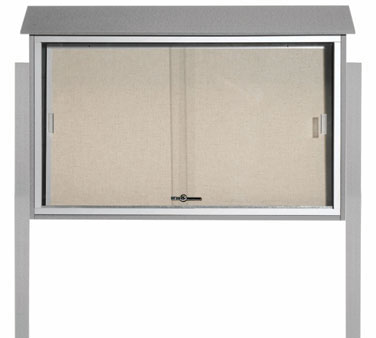 "Aarco Products PLDS3045DPP-2 Light Grey Sliding Door Outdoor Plastic Lumber Message Center - Posts Included 30"" x 45"""