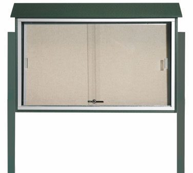 "Aarco Products PLDS3045DPP-4 Green Sliding Door Plastic Lumber Message Center - Posts Included, 30"" x 45"""