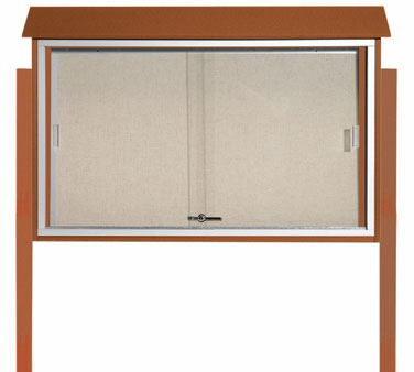 "Aarco Products PLDS3045DPP-5 Cedar Sliding Door Plastic Lumber Message Center - Posts Included, 30"" x 45"""