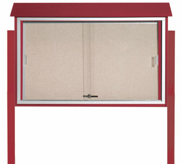 "Aarco Products PLDS3045DPP-7 Rosewood Sliding Door Plastic Lumber Message Center - Posts Included, 30"" x 45"""