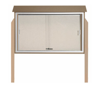 """Aarco Products PLDS3045DPP-8 Weathered Wood Sliding Door Plastic Lumber Message Center - Posts Included, 30"""" x 45"""""""
