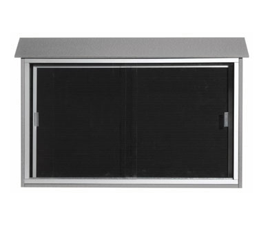 "Aarco Products PLDS3045L-2 Light Grey Sliding Door Plastic Lumber Message Center with Letter Board 30"" x 45"""