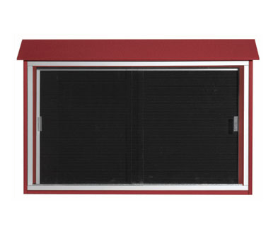 "Aarco Products PLDS3045L-7 Rosewood Sliding Door Plastic Lumber Message Center with Letter Board 30"" x 45"""