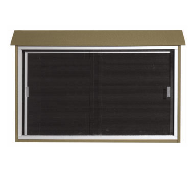 """Aarco Products PLDS3045L-8 Weathered Wood Sliding Door Plastic Lumber Message Center with Letter Board 30"""" x 45"""""""
