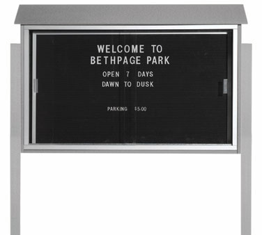 "Aarco Products PLDS3045LDPP-2 Light Grey Sliding Door Plastic Lumber Message Center with Letter Board - Posts Included, 30"" x 45"""