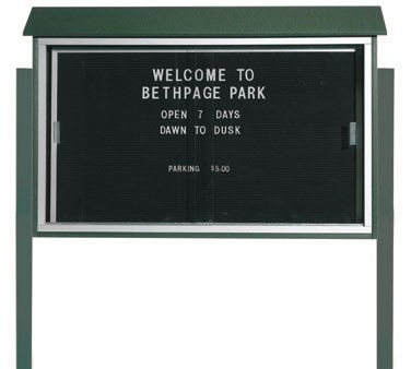 """Aarco Products PLDS3045LDPP-4 Green Sliding Door Plastic Lumber Message Center with Letter Board - Posts Included, 30"""" x 45"""""""