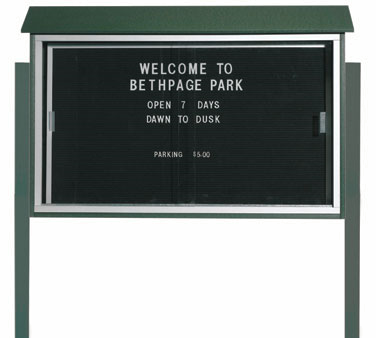 "Aarco Products PLDS3045LDPP-4 Green Sliding Door Plastic Lumber Message Center with Letter Board - Posts Included, 30"" x 45"""