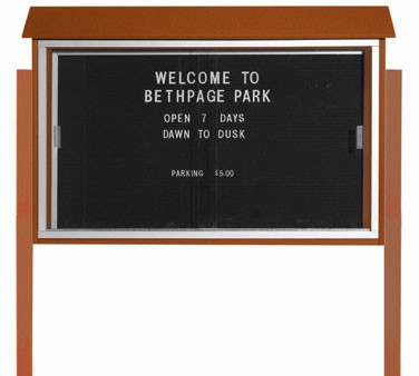 "Aarco Products PLDS3045LDPP-5 Cedar Sliding Door Plastic Lumber Message Center with Letter Board - Posts Included, 30"" x 45"""