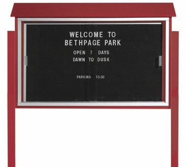 """Aarco Products PLDS3045LDPP-7 Rosewood Sliding Door Plastic Lumber Message Center with Letter Board - Posts Included, 30"""" x 45"""""""