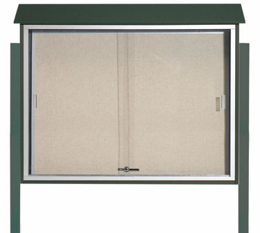 "Aarco Products PLDS3645DPP-4 Green Sliding Door Plastic Lumber Message Center - Posts Included, 36"" x 45"""