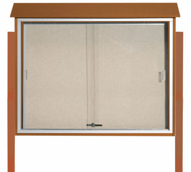 "Aarco Products PLDS3645DPP-5 Cedar Sliding Door Plastic Lumber Message Center - Posts Included, 36"" x 45"""