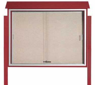 "Aarco Products PLDS3645DPP-7 Rosewood Sliding Door Plastic Lumber Message Center - Posts Included, 36"" x 45"""