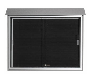 "Aarco Products PLDS3645L-2 Light Grey Sliding Door Plastic Lumber Message Center with Letter Board 36"" x 45"""