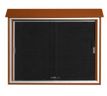 "Aarco Products PLDS3645L-5 Cedar Sliding Door Plastic Lumber Message Center with Letter Board 36"" x 45"""