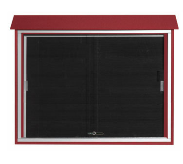 "Aarco Products PLDS3645L-7 Rosewood Sliding Door Plastic Lumber Message Center with Letter Board 36"" x 45"""