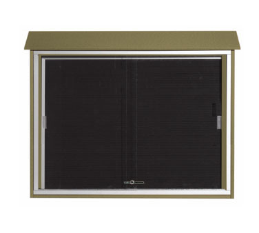 "Aarco Products PLDS3645L-8 Weathered Wood Sliding Door Plastic Lumber Message Center with Letter Board 36"" x 45"""