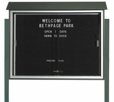 "Aarco Products PLDS3645LDPP-4 Green Sliding Door Plastic Lumber Message Center with Letter Board - Posts Included, 36"" x 45"""