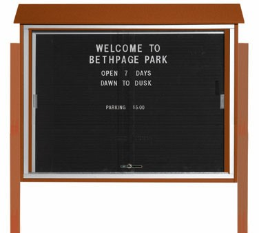 """Aarco Products PLDS3645LDPP-5 Cedar Sliding Door Plastic Lumber Message Center with Letter Board - Posts Included, 36"""" x 45"""""""