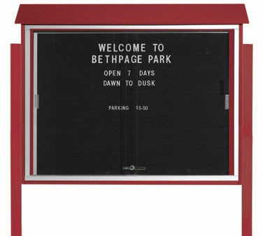 """Aarco Products PLDS3645LDPP-7 Rosewood Sliding Door Plastic Lumber Message Center with Letter Board - Posts Included, 36"""" x 45"""""""