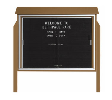 "Aarco Products PLDS3645LDPP-8 Weathered Wood Sliding Door Plastic Lumber Message Center with Letter Board - Posts Included, 36"" x 45"""