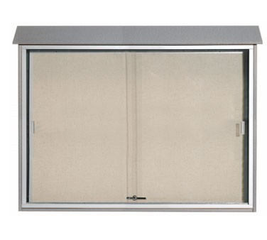 "Aarco Products PLDS4052-2 Light Grey Sliding Door Plastic Lumber Message Center 40"" x 52"""