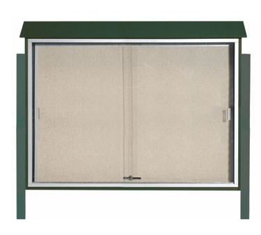 "Aarco Products PLDS4052DPP-4 Green Sliding Door Plastic Lumber Message Center - Posts Included, 40"" x 52"""