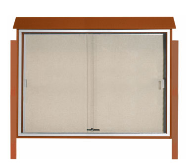 "Aarco Products PLDS4052DPP-5 Cedar Sliding Door Plastic Lumber Message Center - Posts Included, 40"" x 52"""